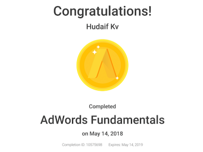 kv hudaif digital marketing strategist adwords certification