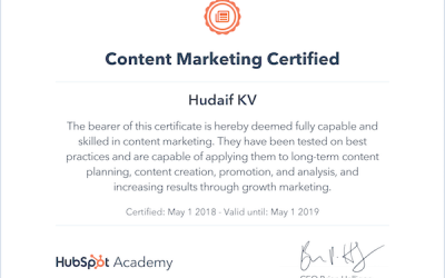 kv hudaif digital marketing strategist google analytics certification hubspot academy certification